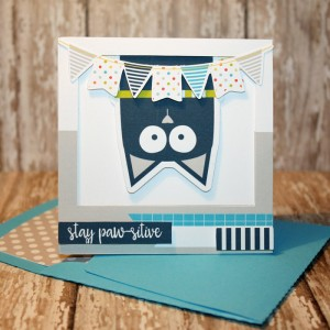 Stay Pawsitive Card with matching envie