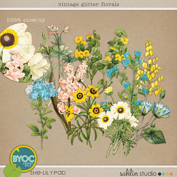 Vintage Glitter Florals