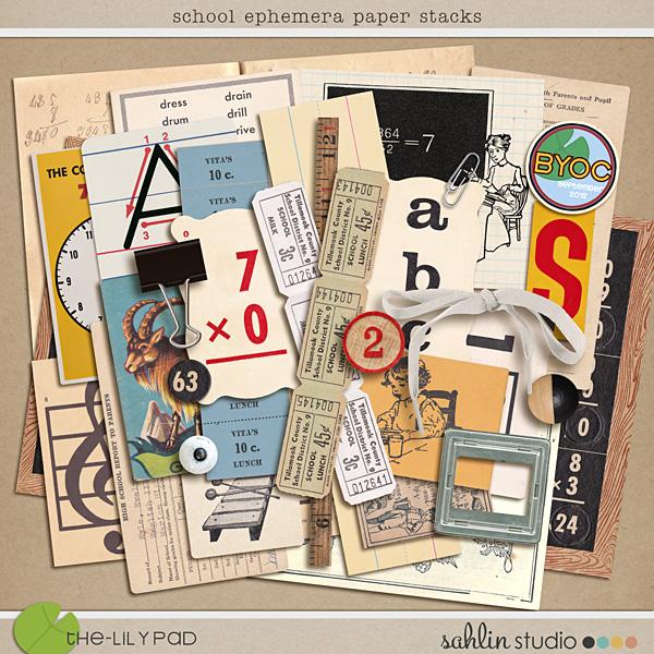 School Ephemera Paper Stacks