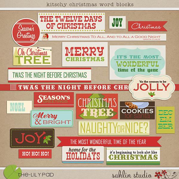 Kitschy Christmas: Word Blocks