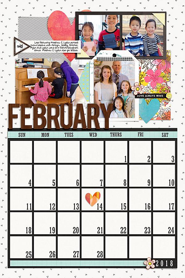 Digital Scrapbook Templates 2018 Calendar Bundle Scrapping With Liz