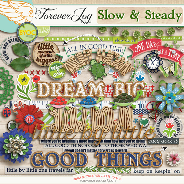 DIGITAL SCRAPBOOKING | FOREVERJOY DESIGNS | SLOW AND STEADY