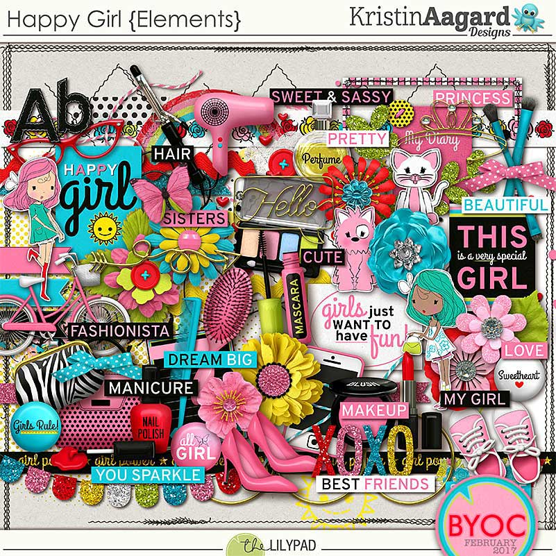 Digital Scrapbook Elements Happy Girl Kristin Aagard