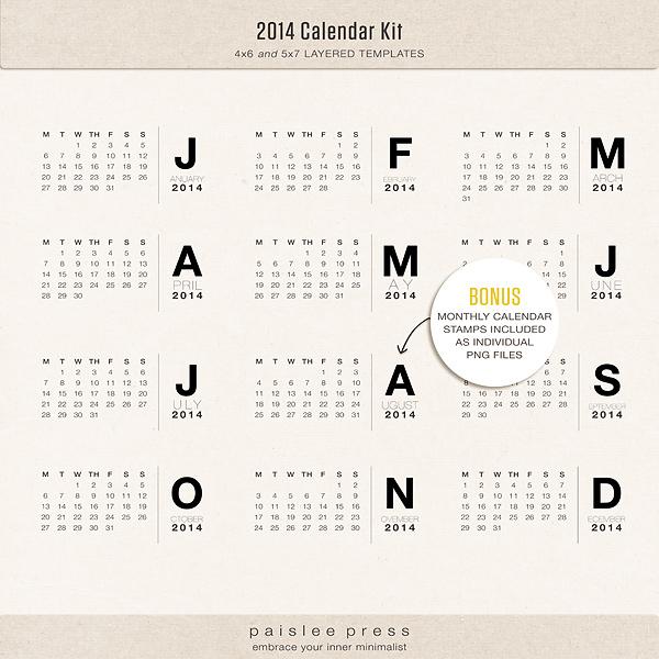 The Lilypad :: Calendars :: 2014 Calendar Kit (Mon-Sun Format)