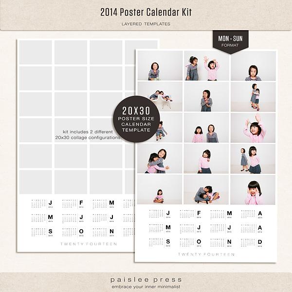 The Lilypad Calendars 2014 Poster Calendar Kit Monday Sunday