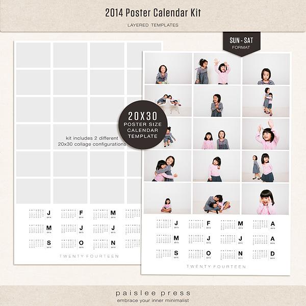 The Lilypad Calendars 2014 Poster Calendar Kit Sunday Saturday