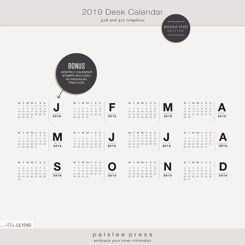 2019 Desk Calendar Kit Monday Start By Paislee Press