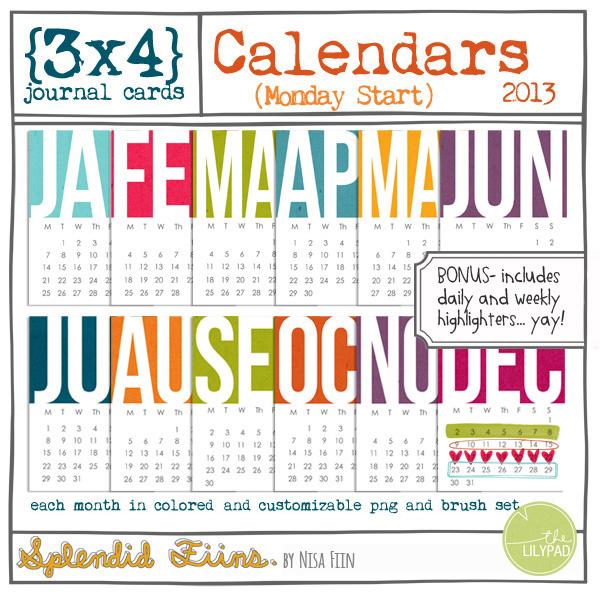 2013 calendar 3x4 cards (monday start)