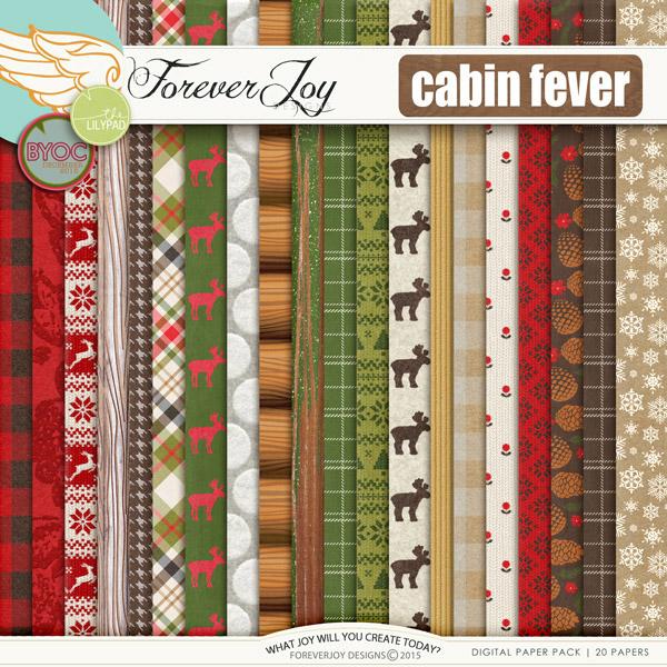 Digital Scrapbooking Kit Cabin Fever Papers Foreverjoy Designs