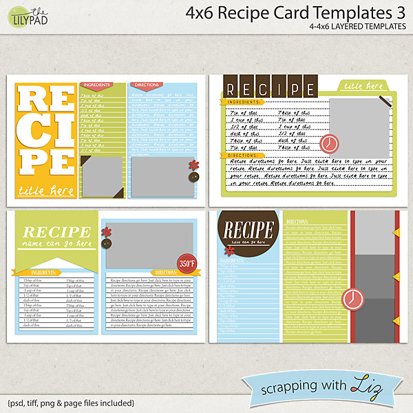 Digital Scrapbook Templates - 4x6 Recipe Card 3 | Scrapping with Liz