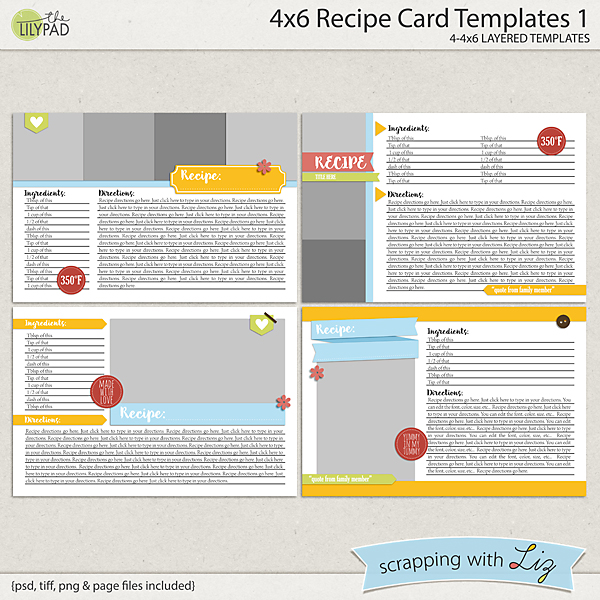 digital scrapbook templates 4x6 recipe card 1 scrapping with liz. Black Bedroom Furniture Sets. Home Design Ideas