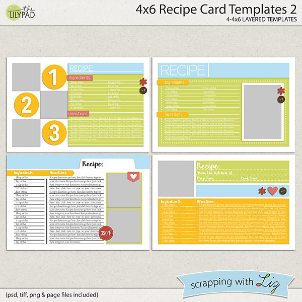 Digital scrapbook templates 4x6 recipe card 2 for Microsoft word 4x6 postcard template