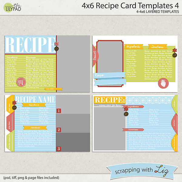 digital scrapbook templates 4x6 recipe card 4 scrapping with liz