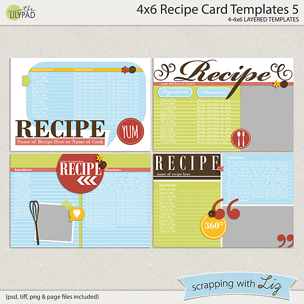 digital scrapbook templates 4x6 recipe card 5 scrapping with liz. Black Bedroom Furniture Sets. Home Design Ideas