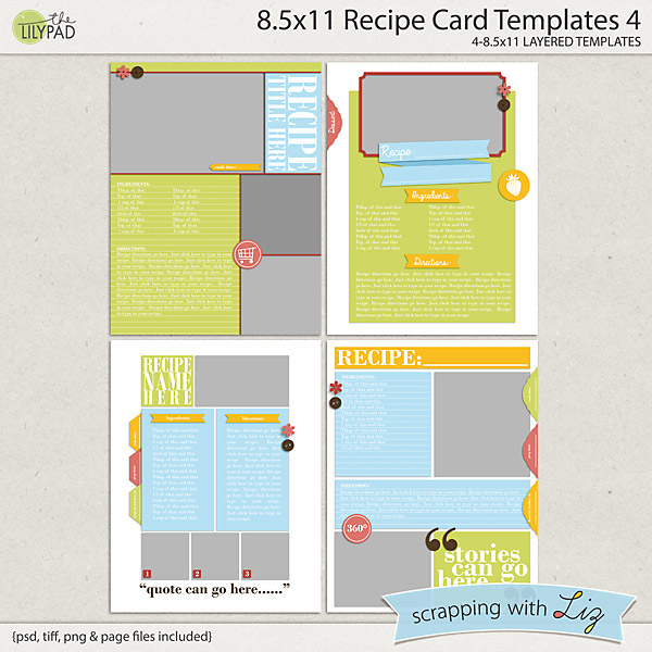 digital scrapbook templates 8x11 recipe page 3 scrapping with liz