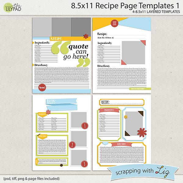 digital scrapbook templates 8x11 recipe page 1 scrapping with liz