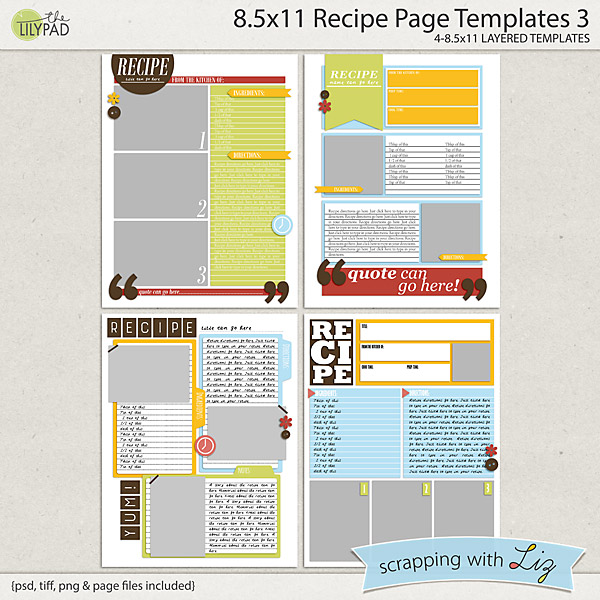 Digital scrapbook templates 8x11 recipe page 3 scrapping with liz 8x11 recipe page templates 3 maxwellsz