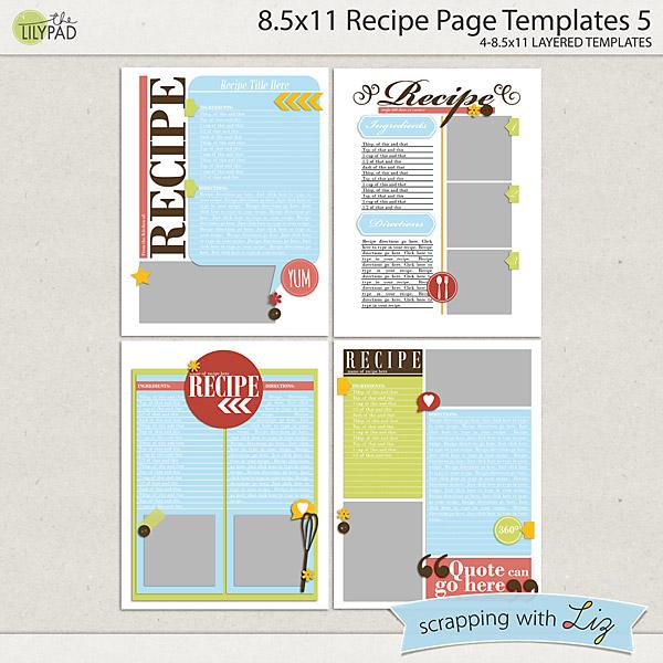 Digital Scrapbook Templates - 8x11 Recipe Page 5