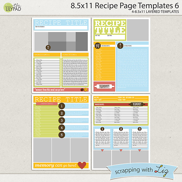 digital scrapbook templates 8x11 recipe page 6 scrapping with liz
