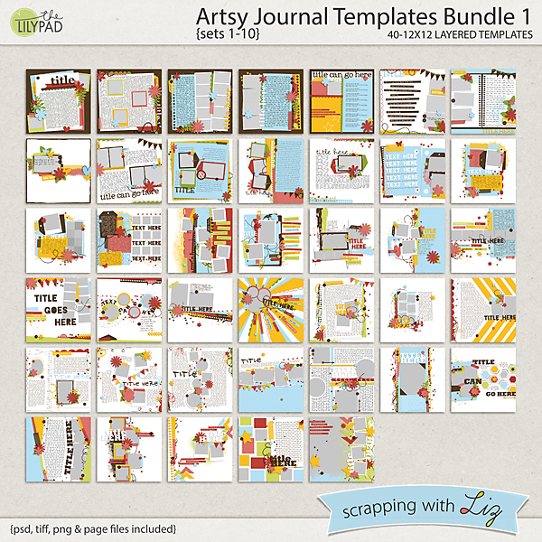 digital scrapbook template artsy journal bundle scrapping with liz