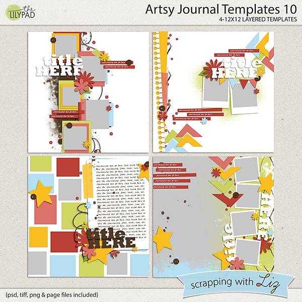 digital scrapbook template artsy journal 10 scrapping with liz