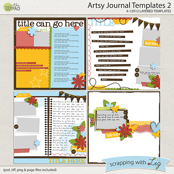 Digital Scrapbook Template Artsy Journal 2 Scrapping With Liz