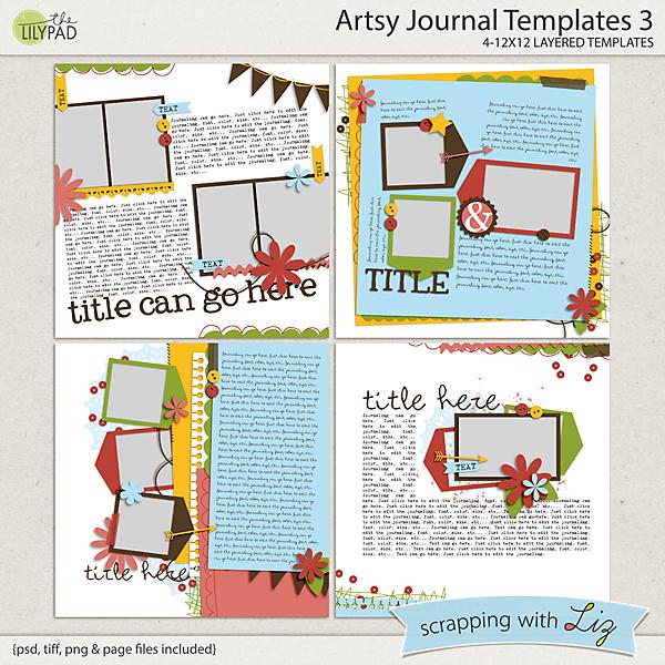digital scrapbook template artsy journal 3 scrapping with liz