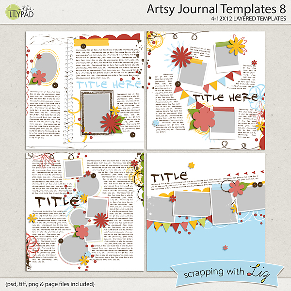 Digital Scrapbook Template Artsy Journal 8 Scrapping With Liz