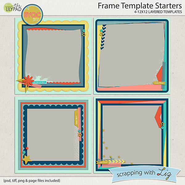 Digital scrapbook template frame starters scrapping for Templates for scrapbooking to print