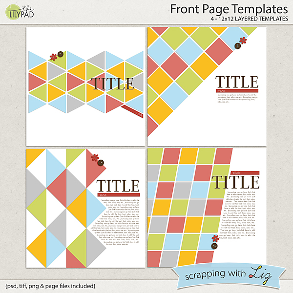 digital scrapbook template front page scrapping with liz