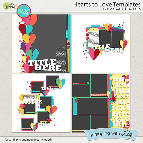 Digital Scrapbook Template Hearts To Love Scrapping With Liz