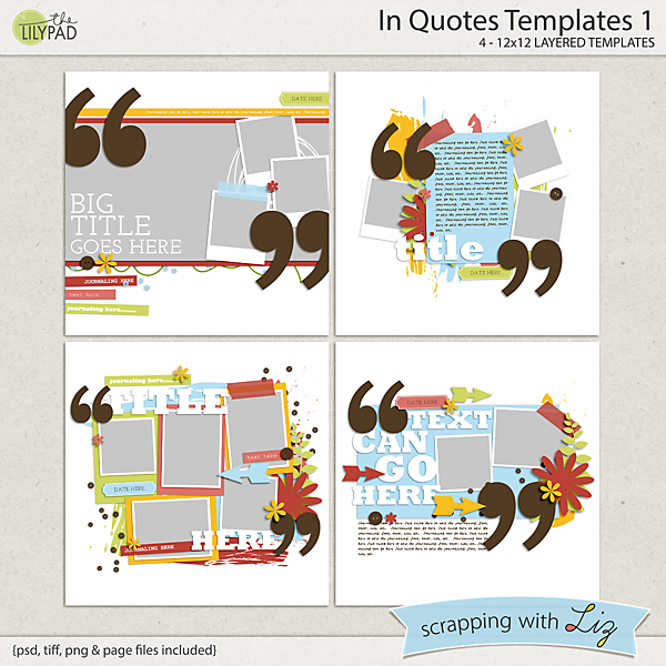 digital scrapbook template in quotes scrapping with liz