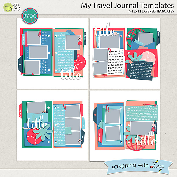Digital Scrapbook Template - My Travel Journal | Scrapping With Liz