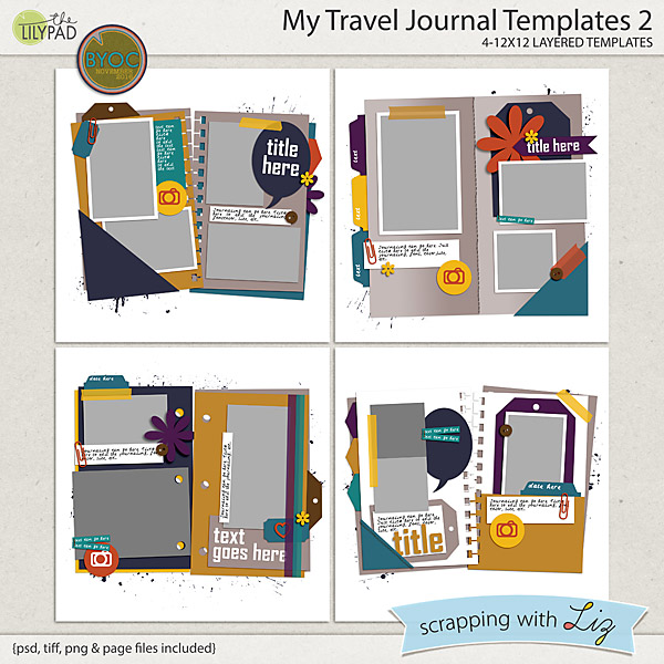 Digital Scrapbook Template - My Travel Journal 2 | Scrapping With Liz