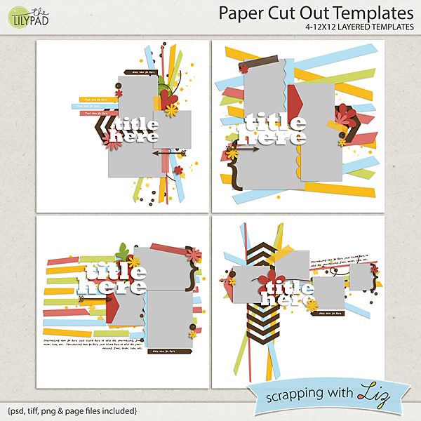 digital scrapbook templates paper cut out scrapping with liz