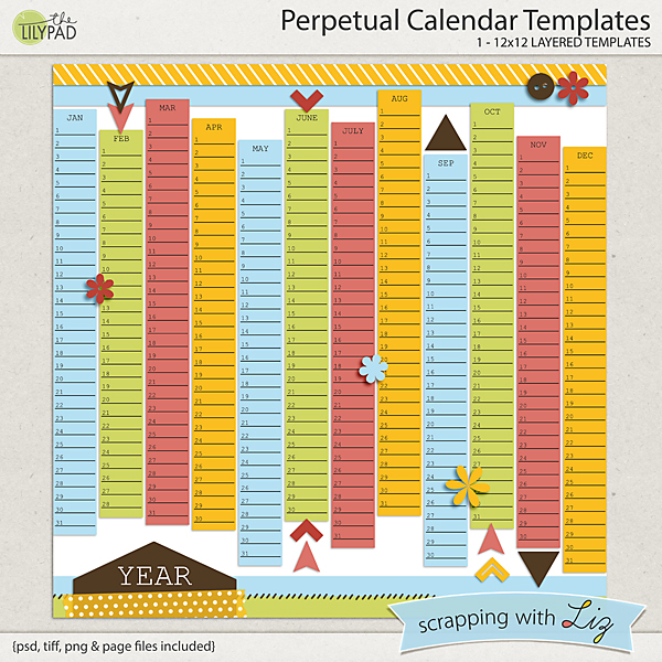 image relating to Perpetual Calendar Printable named Perpetual Calendar Template