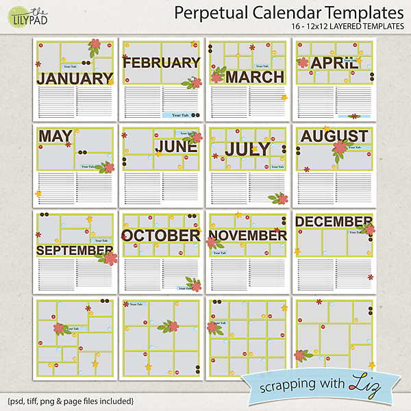 Digital Scrapbook Template - Perpetual Calendar | Scrapping With Liz