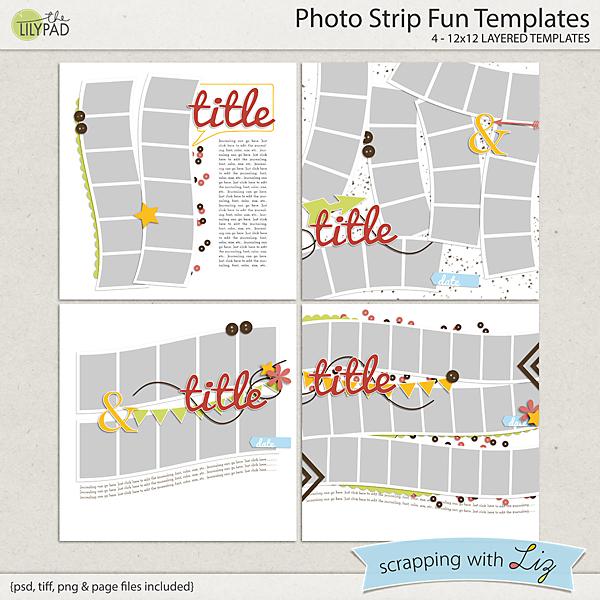 Digital Scrapbook Template - Photo Strip Fun | Scrapping with Liz