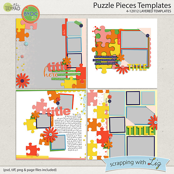 digital scrapbook template puzzle piece scrapping with liz