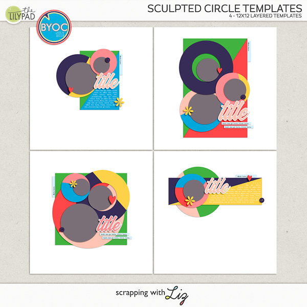 Digital Scrapbook Template Sculpted Circle Scrapping With Liz