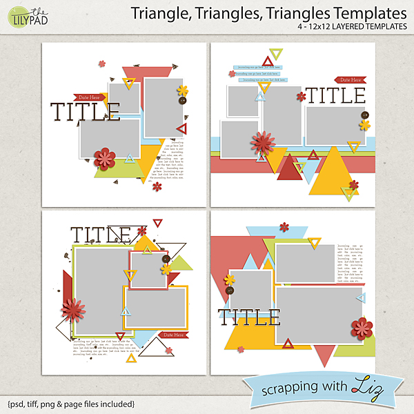 digital scrapbook template triangles triangles scrapping with liz