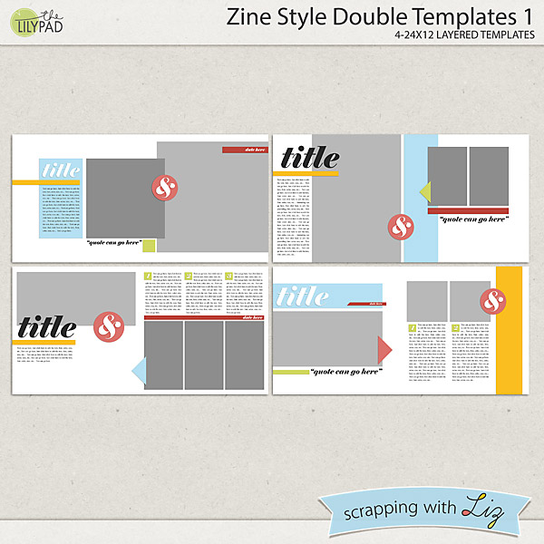 Digital Scrapbook Template - Zine Style Double 1 ...