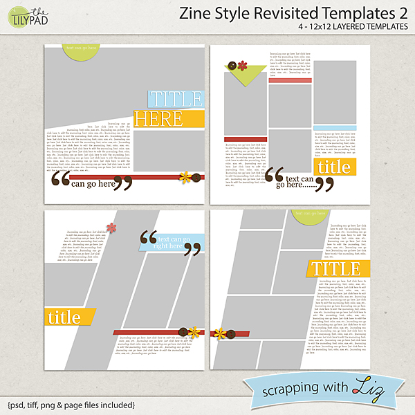 Digital Scrapbook Template - Zine Style 2 | Scrapping with Liz