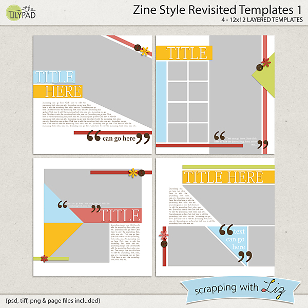 Digital Scrapbook Template - Zine Style 1 | Scrapping with Liz
