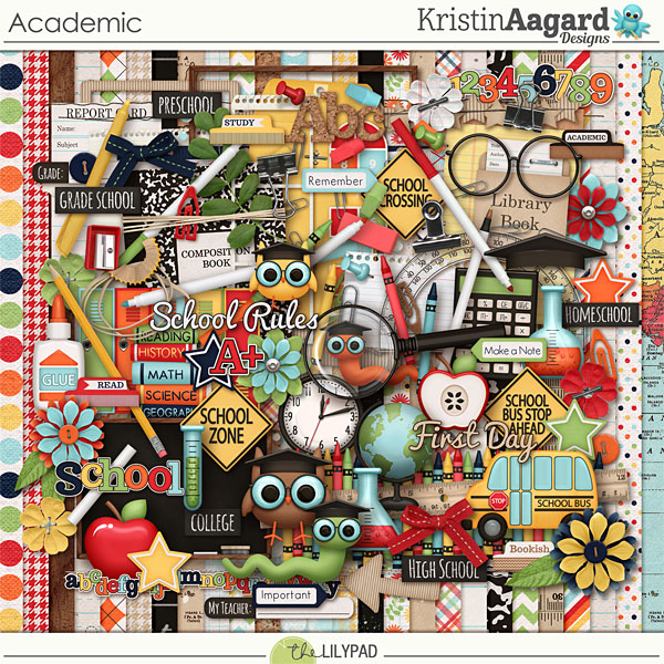 Digital Scrapbook Kit Academic Kristin Aagard