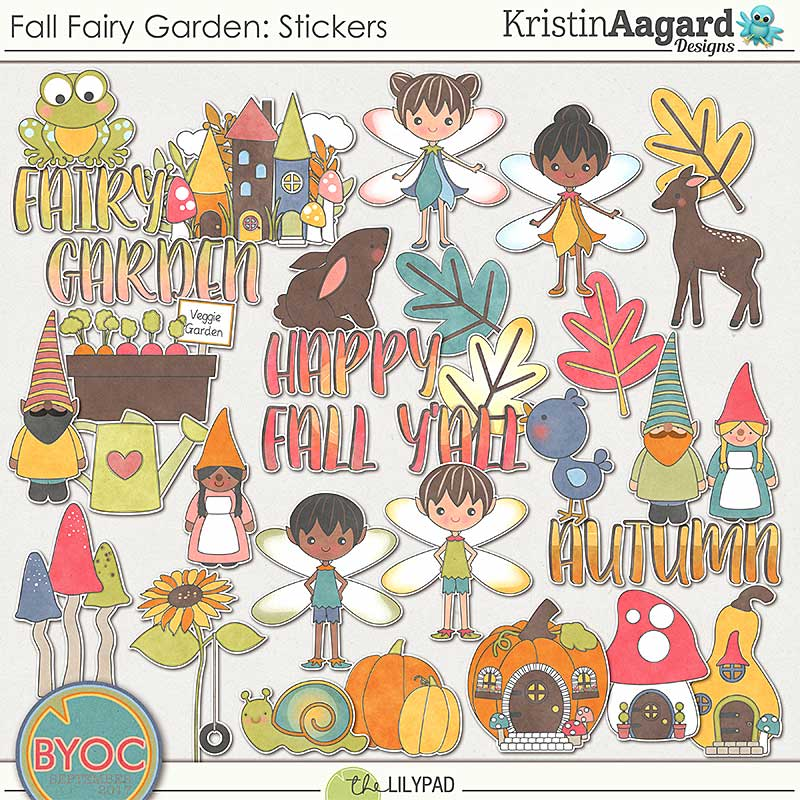 Digital scrapbook stickers fall fairy garden kristin aagard
