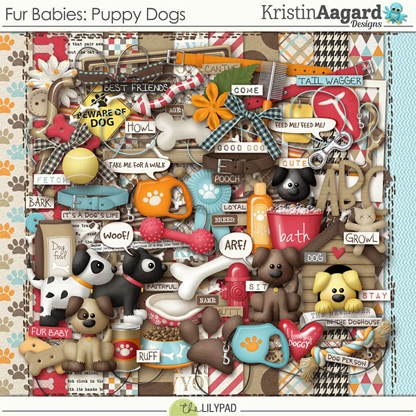 Digital Scrapbook Kit Fur Babies Puppy Dogs Kristin