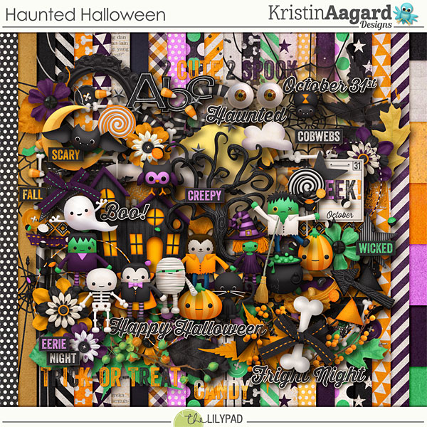 Digital Scrapbook Kit Haunted Halloween Kristin Aagard