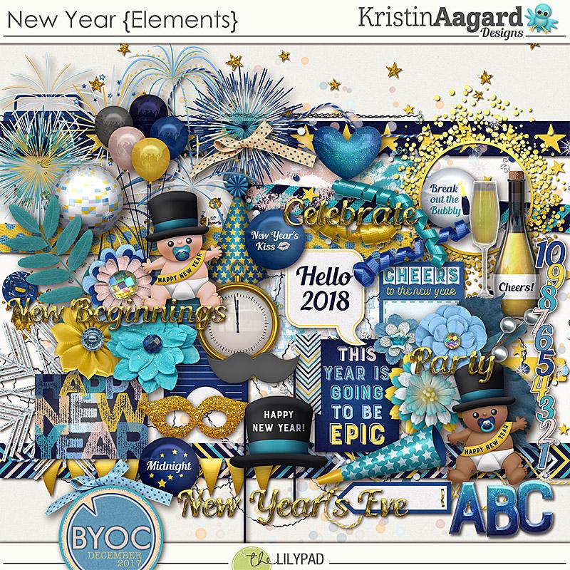 Digital Scrapbook Kit New Year Kristin Aagard