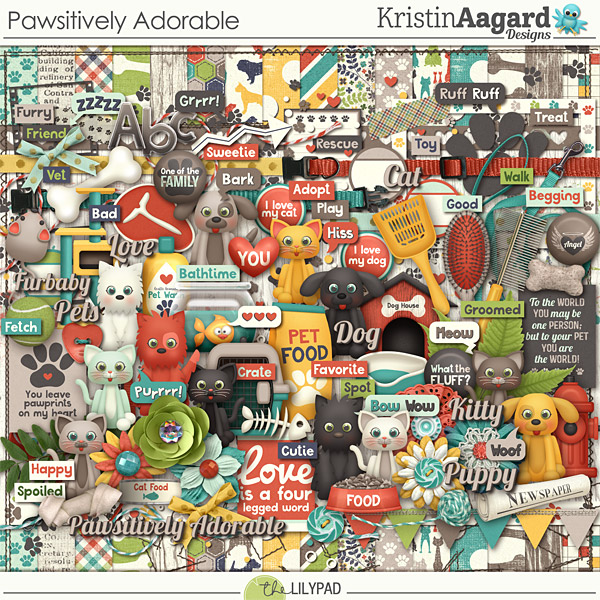 Digital Scrapbook Kit Pawsitively Adorable Kristin Aagard